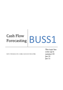 Preview of Cash flow forecasting