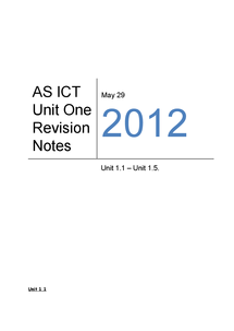 Preview of CCEA AS ICT UNIT ONE REVISION NOTES