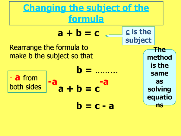 Preview of Changing the subject of the formula