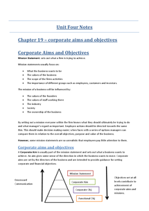 Preview of Chapter 19 - Corporate Aims and Objectives