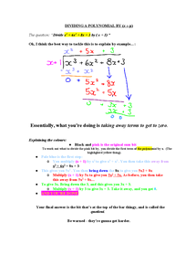 Preview of Chapter One - Algebra and Functions - Dividing by Polynomials