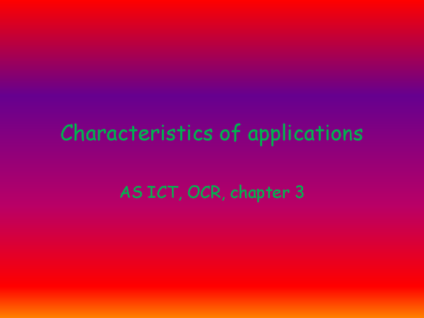 Preview of Characteristics of applications