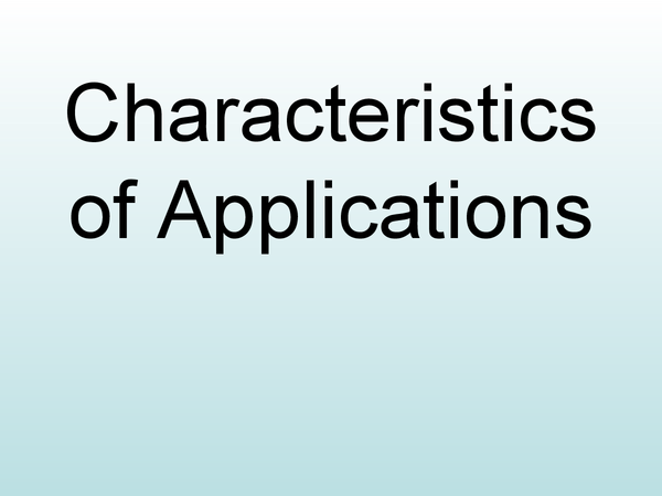 Preview of Characteristics of Applications - OCR (New Spec for 2008)