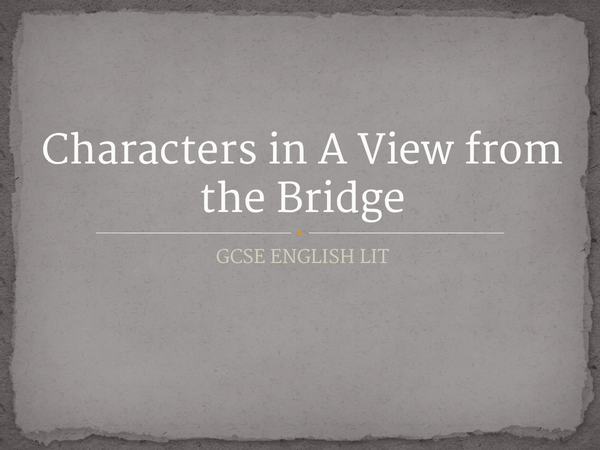 Preview of Characters in A View from the Bridge