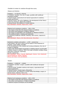 Preview of Checklist of Medicine Through Time revision.