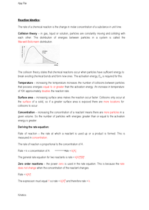 Preview of Chem. Unit 4, Chapter 1 - Kinetics