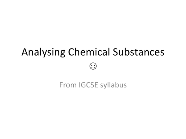 Preview of Chemical analysis notes for water, gases and ions