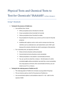 Preview of Chemical and Physical Tests in AQA AS Level Unit 2 Chemistry
