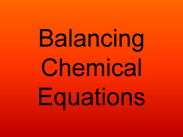 Preview of Chemical Equations
