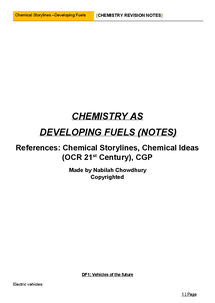 Preview of Chemical Story lines - Developing Fuels Notes