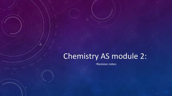 Preview of Chemistry as Module 2 2016 spec