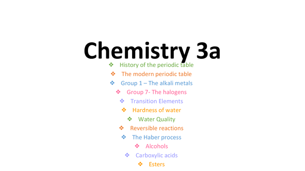 Preview of Chemistry 3a