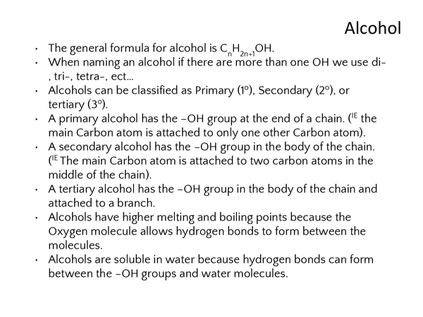 Preview of Chemistry alcohol revision