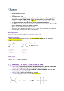 Preview of Chemistry AQA AS Unit 2 Alkenes