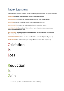 Preview of Chemistry AQA AS Unit 2 Redox Reactions
