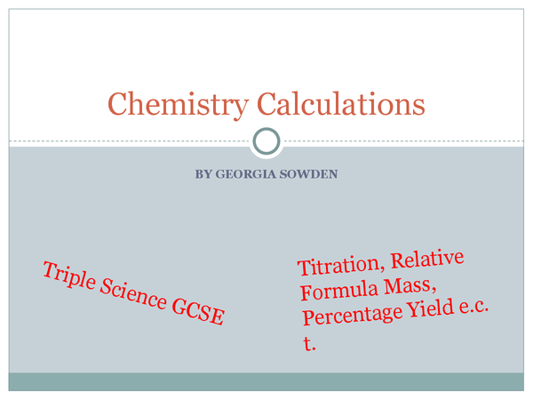 Preview of Chemistry C7 Calculations