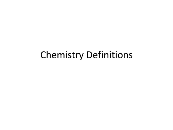 Preview of Chemistry Definitions (unit 1+2) AS AQA Chemistry