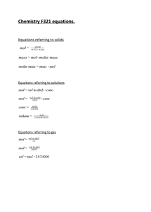 Preview of chemistry F321 equations