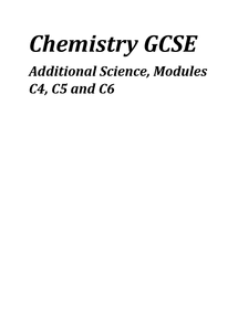 Preview of Chemistry GCSE, modules C4, C5 and C6