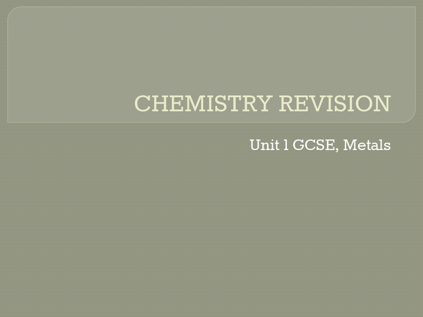 Preview of Chemistry  - Metals
