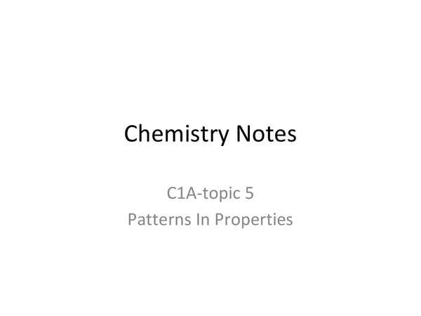 Preview of Chemistry Notes