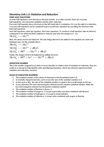 Preview of Chemistry Unit 1.5 - Oxidation and Reduction