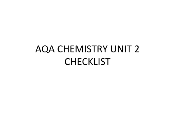 Preview of Chemistry Unit 2 Checklist