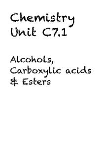 Preview of Chemistry Unit C7.1 - Alcohols, Carboxylic acids & Esters