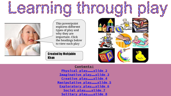 Preview of Childcare learning through play powerpoint/different forms of play