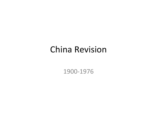 Preview of Chinese History Revision