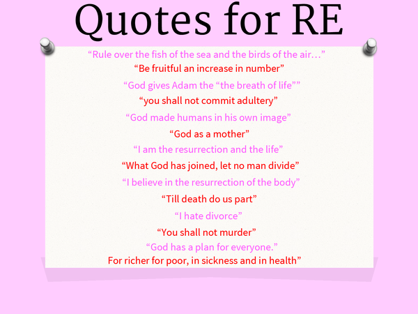 Preview of Christian Quotes for RE