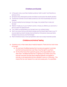 Preview of Christian Beliefs on Animal Testing and Suicide