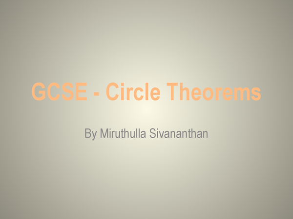 Preview of Circle Theorems