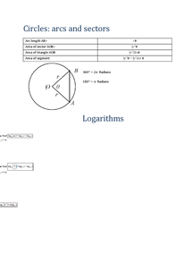 Preview of Circles: arcs and sectors and logorithms