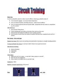 Preview of Circuit Training Plan