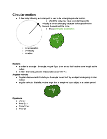 Preview of Circular motion and SHM summary notes