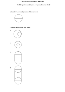 Preview of Circumference and Area of circles questions