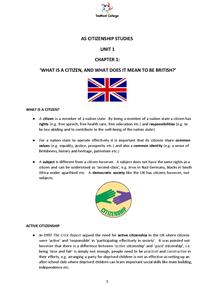 Preview of Citizenship Unit 1