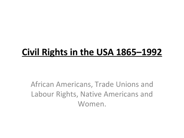 Preview of Civil Rights in the USA 1865–1992