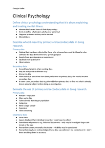 Preview of Clinical psychology - revision summary