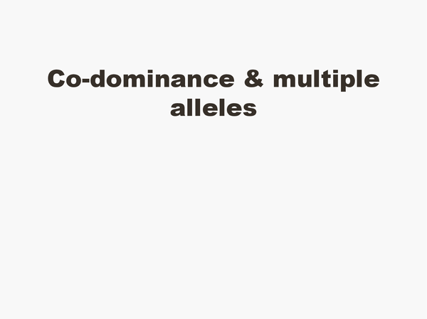 Preview of Co-Dominance and Multiple Alleles