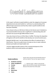 Preview of Coastal Landforms with Examples