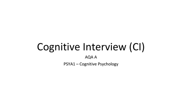 Preview of Cognitive Interview
