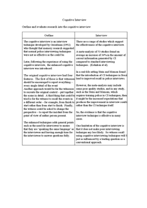 Preview of cognitive interview revision