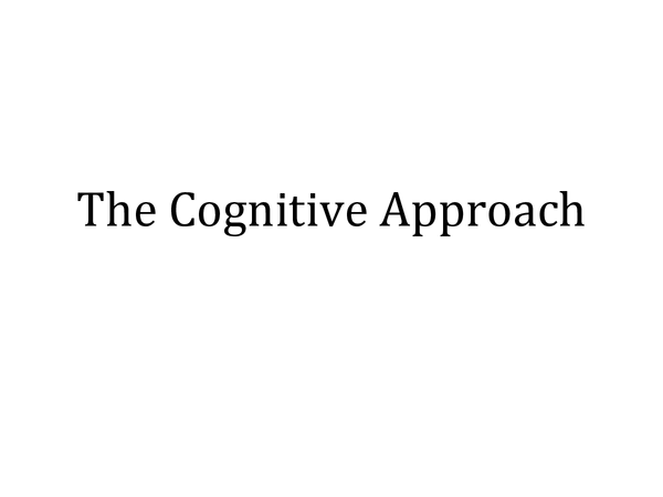 Preview of Cognitive Psychology (Approach)
