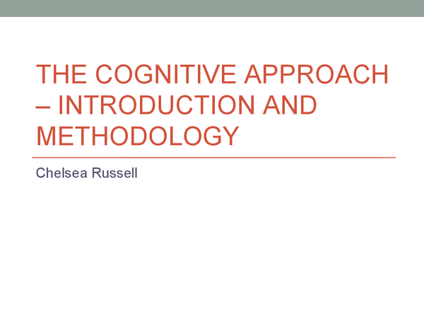Preview of Cognitive psychology - Introduction and methodology