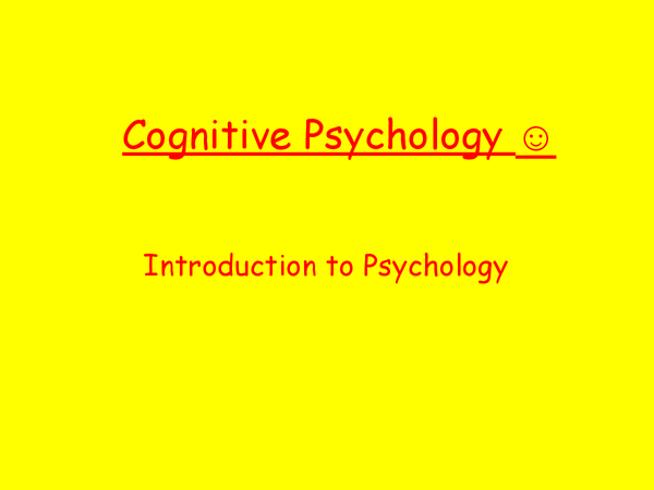 Preview of Cognitive Psychology Introduction AS