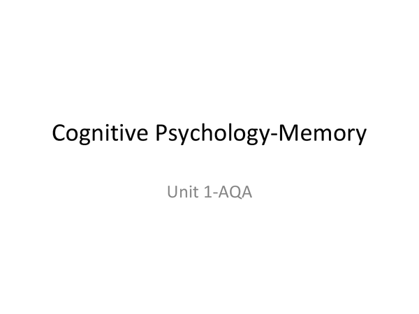 Preview of Cognitive psychology-memory