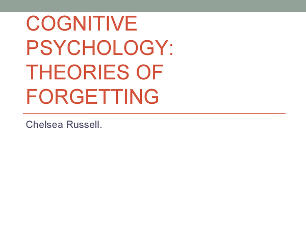 Preview of Cognitive Psychology - Theories of forgetting