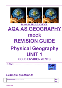 Preview of Cold Environments A Level Geography Detailed Notes and Questions